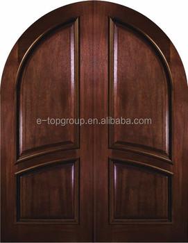 Prehung Exterior Double Door 96 Wood Mahogany 2 Panel Round Top ...