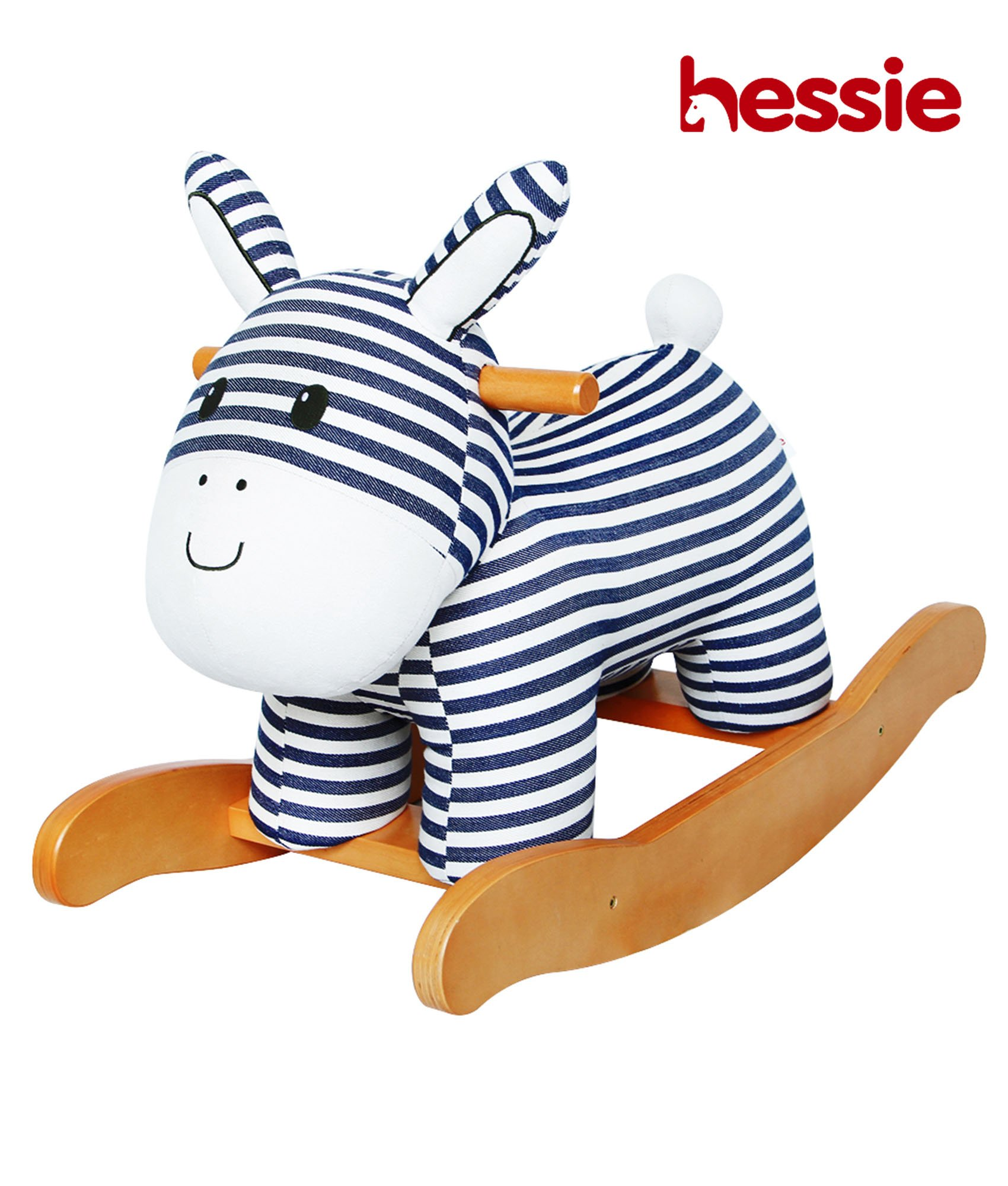 Hessie Modern Plush Rocking Horse with Soft Cute Stuffed Animal, Indoor Ride On Toys Rockers for Toddlers Kids Little Boys & Girls (6-36 Months) - Padded Stripe Donkey