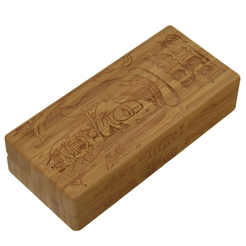Mdf craft carved gift wood cigarette box with hinged lids
