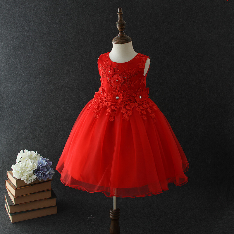 14932be4f97a 2018 baby girl party dress children frocks designs Vietnam red princess  flower ball gown wedding dresses for 10 years old