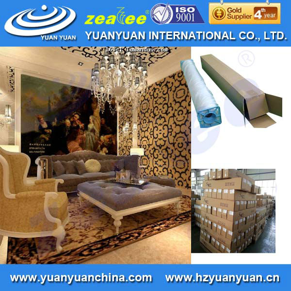 Stetched clear paintable wallpaper borders for decorating wall, Eco-solvent embossed wallpaper china for inkjet printing