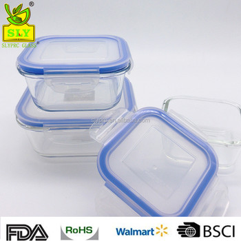 Glass Food Storage Container Set Square Bpa Free Fda Approved