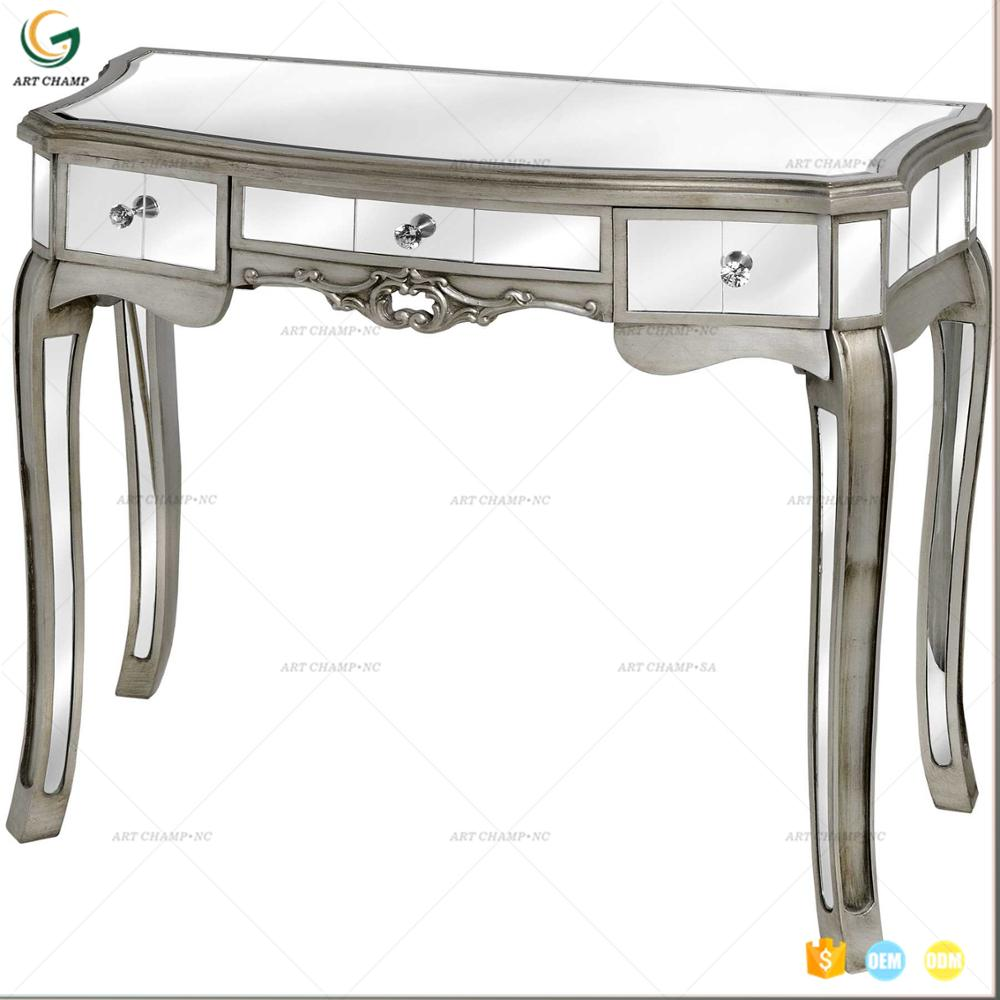 . Classic Mirror Furniture Bedroom 1 Drawer Silver Glass Mirrored Console  Dressing Table   Buy Mirror Furniture Mirrored Table Silver Glass Table