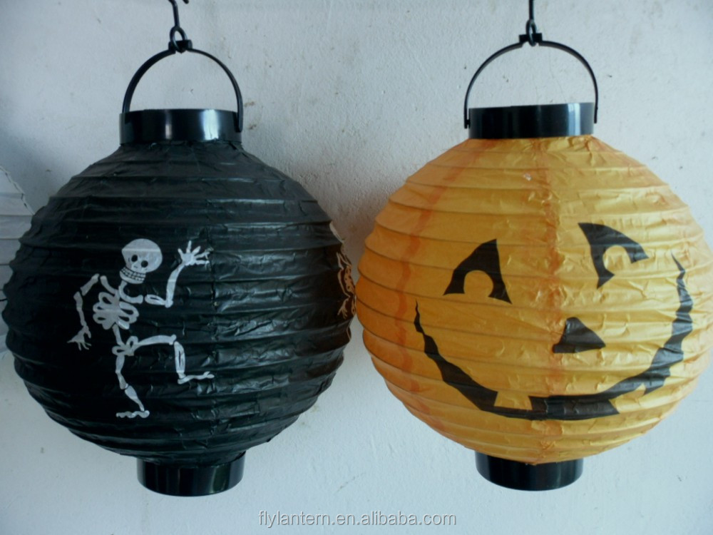 Wholesale led light paper lantern for Halloween decoration