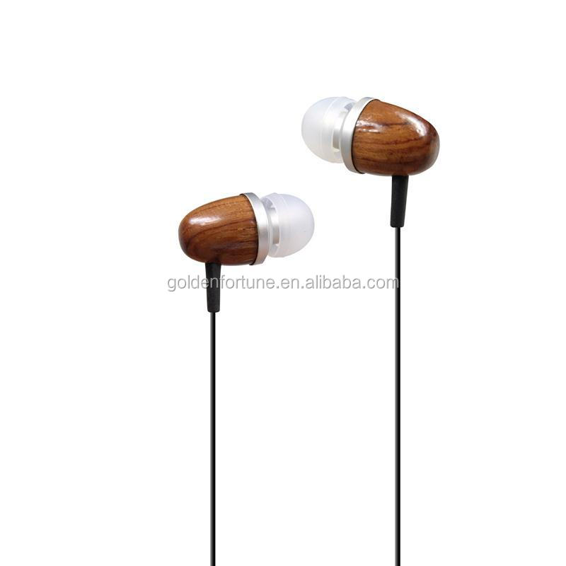 high quality wooded headphone in-ear stereo wooden earphone and earbud