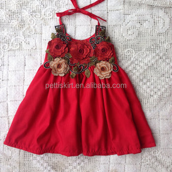 41e85bb59 Wholesale kids clothes baby girl fancy dress with rose flower girl linen  dress