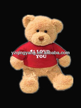 Latest design valentine day gift stuffed plush brown teddy bear toy in red T-shirt