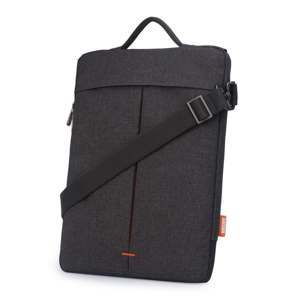 "CAISON Waterproof Cross Body Shoulder Bag with Strip Sleeve Case For 11.6 - 12 inch Laptap Notebook 12"" Apple MacBook / 12.3"" Microsoft Surface Pro (Grey / Orange Inset)"