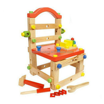 Funny Diy Kids Wooden Tool Chair Toy Nut Dismantling Combined Toys