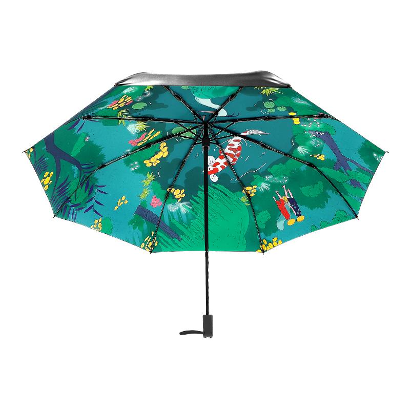 22b9a87a8c Movie Big Fish   Begonia Printing Women Lady Rain And Sun Umbrella 3  Folding 8 Ribs Sunshade UV-resistant Umbrellas Guarda Chuva
