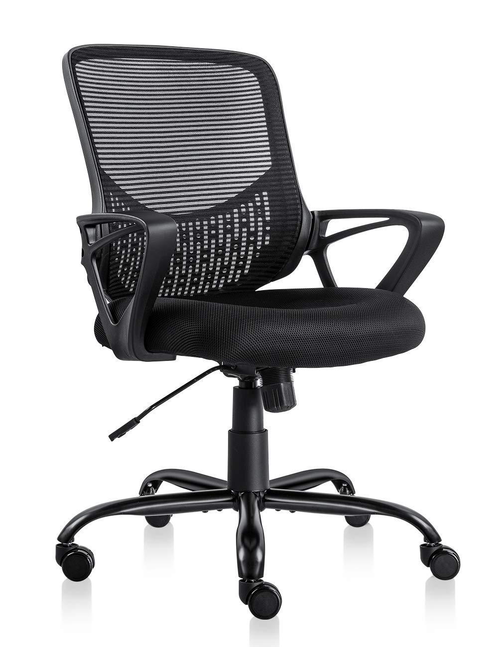 PTO Furniture Ergonomic Office Chair Lumbar Support Mesh Chair Computer Desk Task Chair with Armrests, Black
