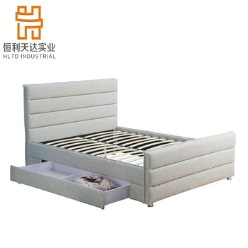 Ottoman Gas Lift and Hydraulic up Storage Frame Upholstered Gray Linen Platform King Size Bed