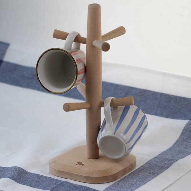 Home deco massief beuken houten koffiemok houder keuken rek voor 6 kopjes vertoningstribune boom - Houten deco ...