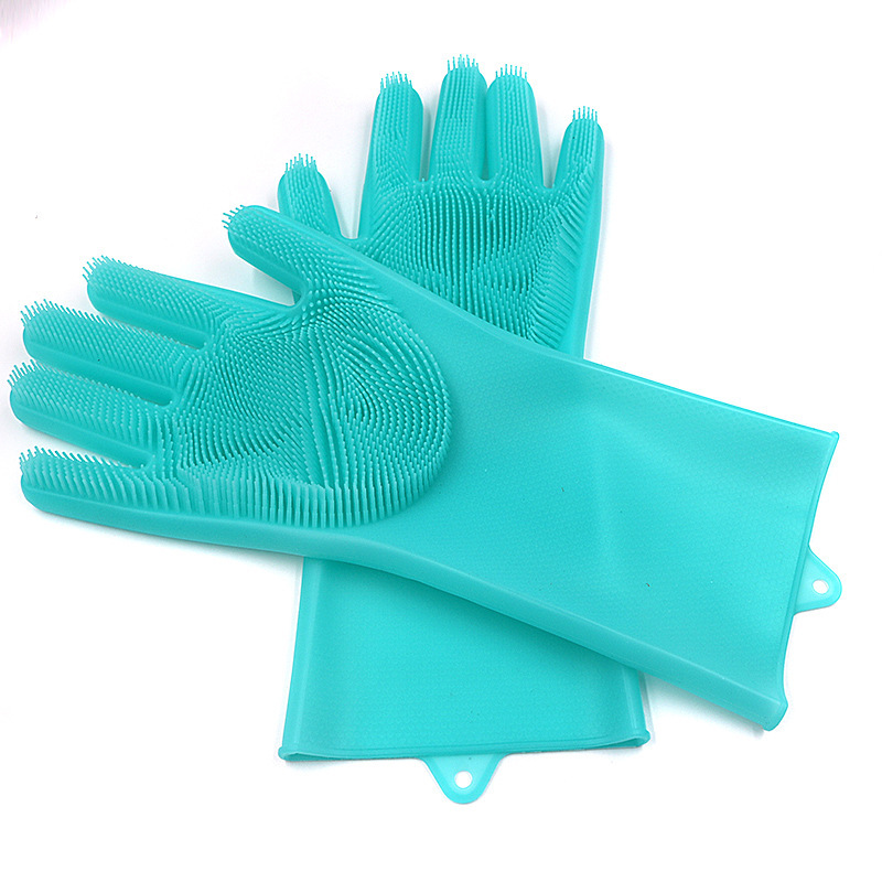 Custom Made 100% Food Grade Silicone Rubber Heat Resistant Brush Magic Scrubber Household Washing Cleaning Dishwashing Gloves