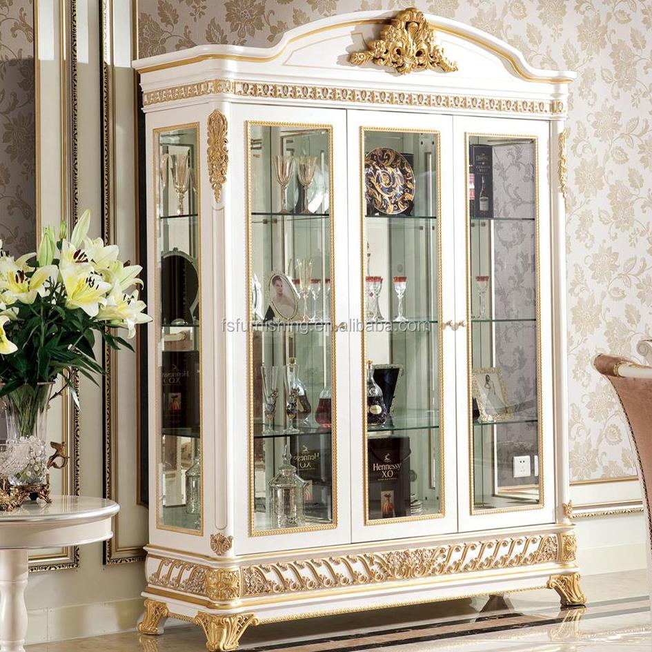 yb62 fran ais rococo style salon meubles vin vitrine avec tv stand antique en bois or peinture. Black Bedroom Furniture Sets. Home Design Ideas