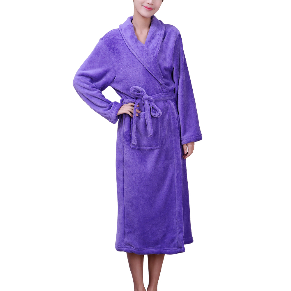 Cheap Wholesale in-stock Solid Color Coral Fleece Bathrobe Made in China