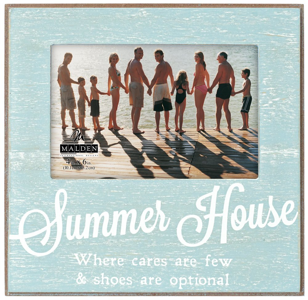 """Malden International Designs Distressed Silkscreened Outdoor Life """"Summer House"""" Wood Picture Frame to Hold 4 by 6-Inch Photo"""