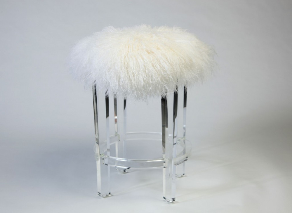 Round Acrylic Lucite Lamb Faux Fur Stool Buy Round