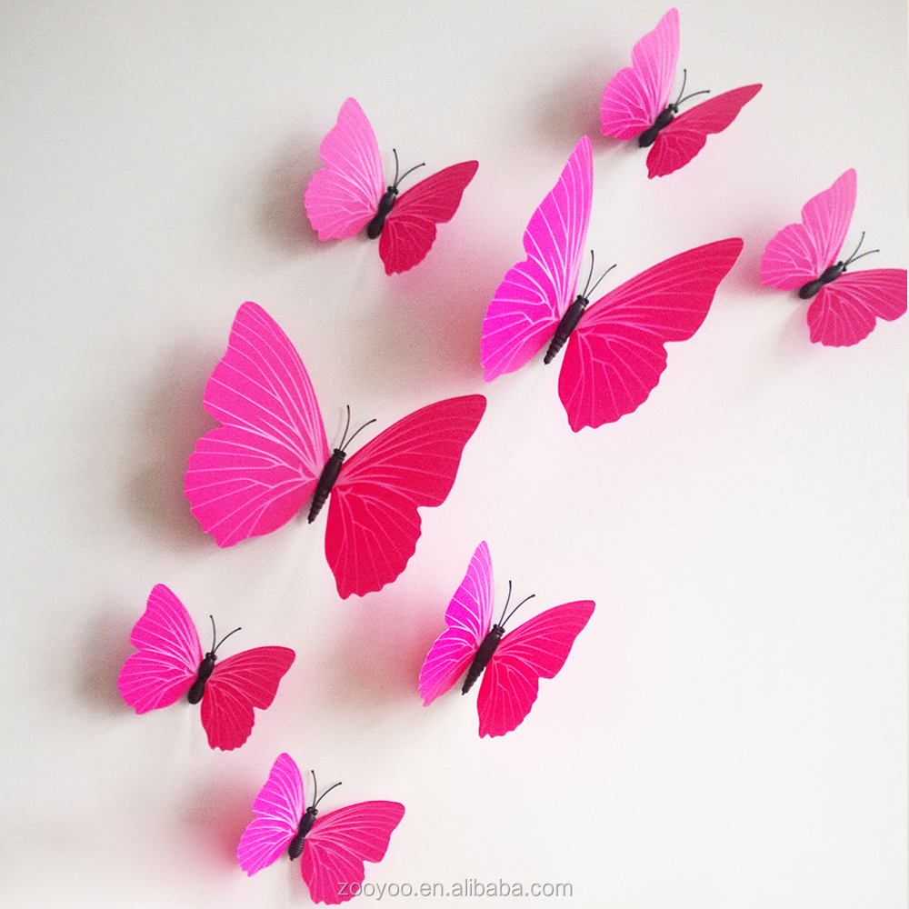 Zooyoo 3d butterfly wall sticker art design decal home for 3d wall butterfly decoration