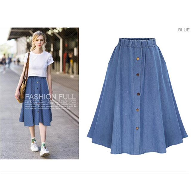 2019 mode Sommer Casual Plus Größe Denim Maxi Frauen Rock