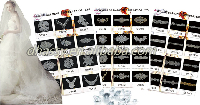 Hotsell Crystal Rhinestone Applique With Pearl For Wedding Dress DH-888