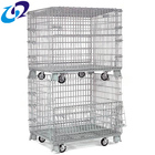 Warehouse galvanized foldable metal storage bins with wheels