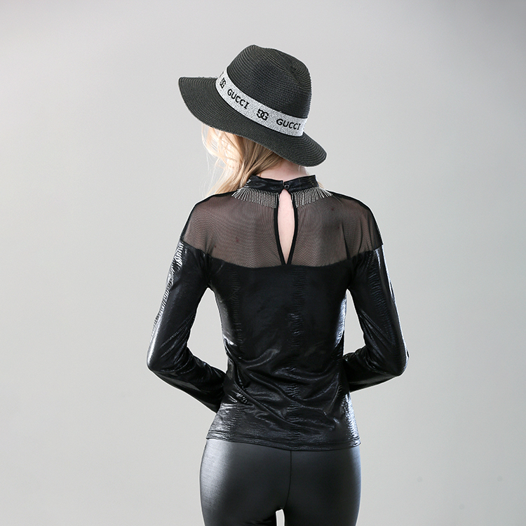 Wholesale new leather mesh stitching sexy bodycon blouse women