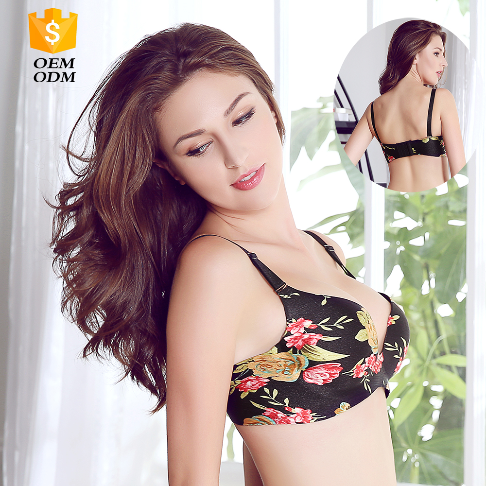young women plastic strap bra with beautiful flowers pattern for small chest ladies