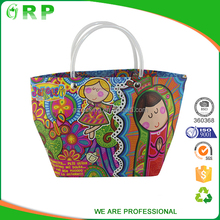 Durable quality fashion pattern reusable pp woven beach bags large tote