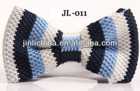 2012 fashion blue white and navy stripe silk knit bow tie BT11