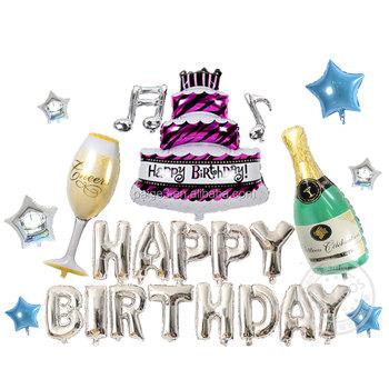 Surat Ulang Tahun Champagne Botol Dan Kaca Tiup Raksasa Besar Kue Ulang Tahun Foil Balon Untuk Dekorasi Pesta Buy Botol Champagne Dan Balon