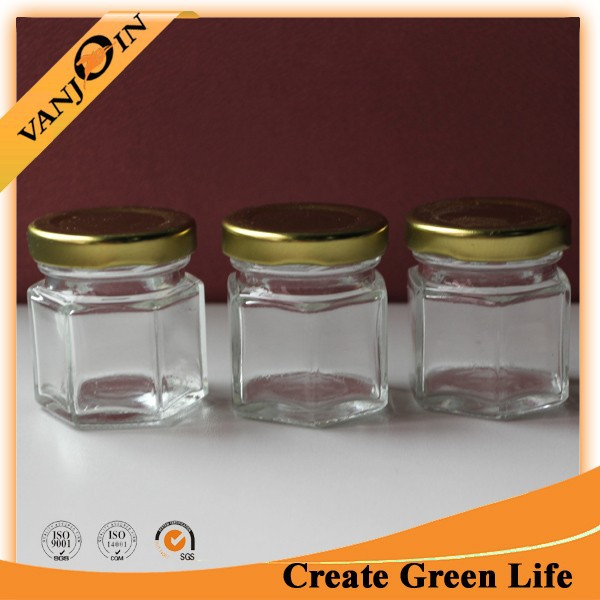 Oval Hexagon Glass Jar For Honey/Candy/Food