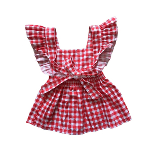 flutter plaid skirt girl's kilt braces skirt baby fashion dress boutique backless dress