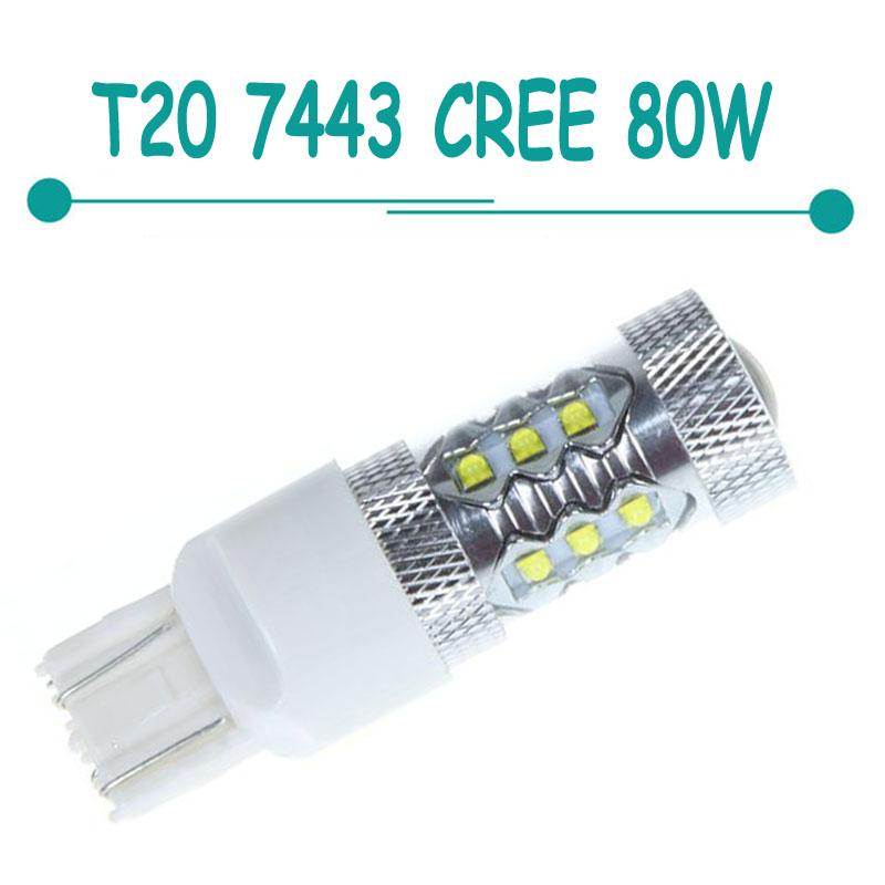 2 шт. 80 Вт 7443 T20 14led кри из светодиодов автомобиля обратный свет хвост включите резервное копирование обратный белый CD00506