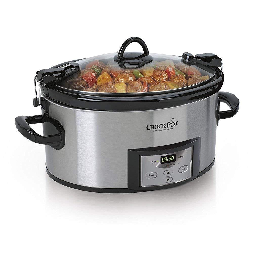 Crock-Pot 6-Quart Programmable Cook & CarryTM Slow Cooker- Silver, SCCPVL610-S-A