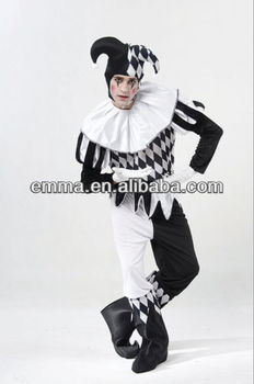 MENS BLACK u0026 WHITE HARLEQUIN JESTER CIRCUS CLOWN FANCY DRESS COSTUME BM474  sc 1 st  Alibaba : black and white clown costumes  - Germanpascual.Com