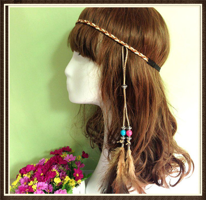 Boho hippie feather hairband tassels leather hair accessories braided headband