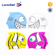 Longsail Wholesale Funny Animal Design Silicone Swimming Cap For Kids