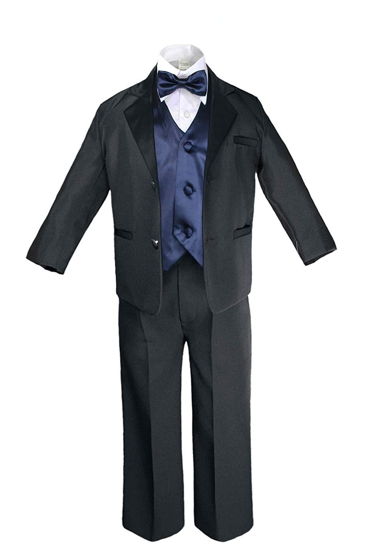 Unotux 7pc Boys Black Suit with Satin Silver Vest Set S-20