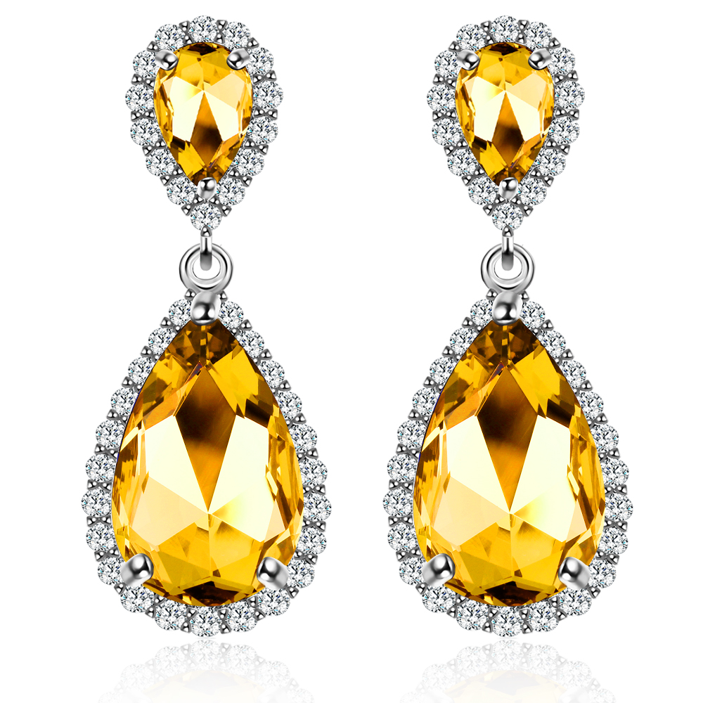 7143 <strong>Fashion</strong> 4 Color Stones Crystals Stud Earrings For Women With AAA Zircon Earrings Jewelry