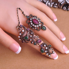 New Arrival Adjustable Turkish Two Finger Rings For Party Women Blue Acrylic Hollow Out Flower Design