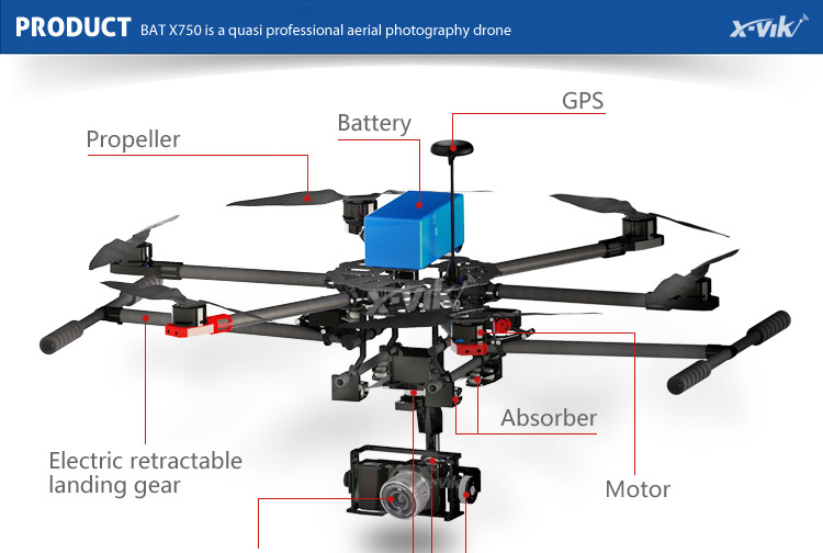 2.4g Six Rotors Rc Multicopter Hexacopter Uav X750 With Camera For ...