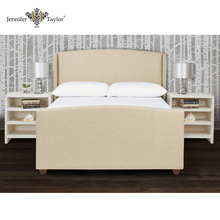 Home furniture American style fabric upholstery queen size bed/wood frame headboard bed/elegant design wood frame bed