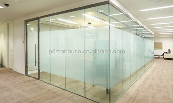 Aluminum U Channel Frame Tempered Glass Partitions Interior Glass Partition  Wall