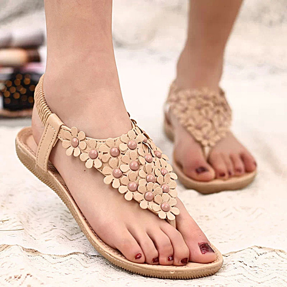 Bohemia Style Elastic Slingback Flowers Flat <strong>Sandals</strong>