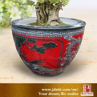 Large embossed red ceramic outdoor planters from Jingdezhen