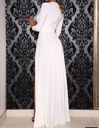2015 best hot selling wholesale ladies long sleeve v-neck wrap front high double slits maxi dress