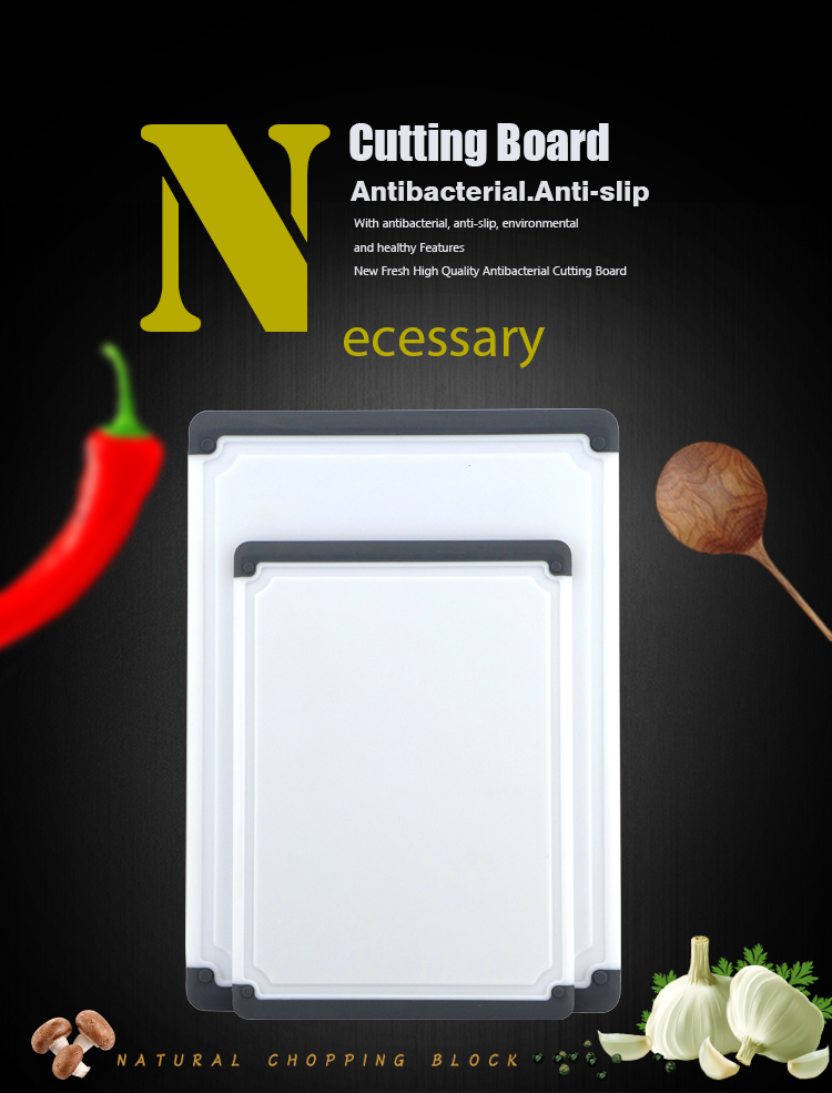 Thickened PP and TPR Plastic 2pcs Set Cutting Board