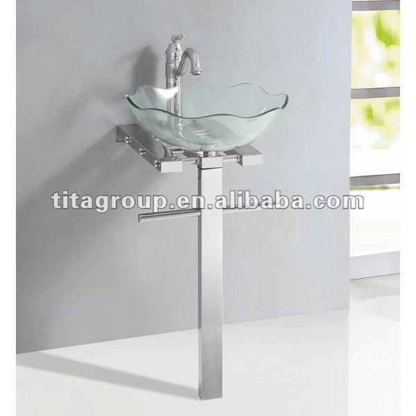 Clear Glass Wash Basin Stand With 304 Stainless Steel