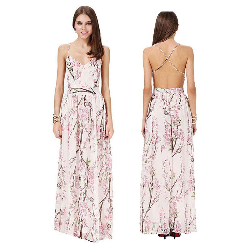 df681b82b2a Get Quotations · summer dress 2015 Latest backless long dress Designs Women  Brand Spaghetti Strap Florals Print Maxi Elegant